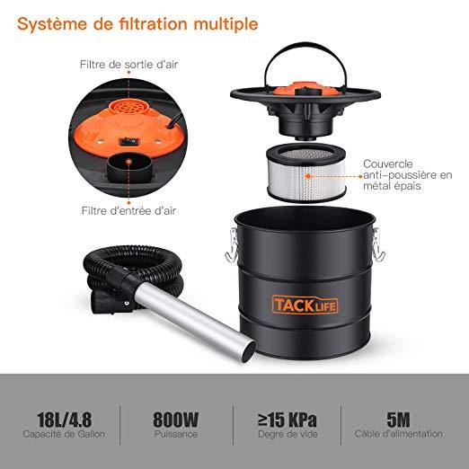 Filtre à air aspirateur à cendres chaudes + souffleur Tacklife 20 litres 800 W